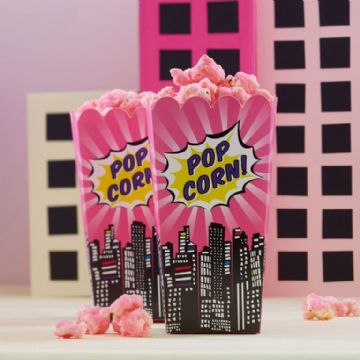 Pink Popcorn boxes - pack of 8